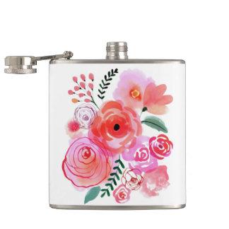 Watercolor Pink Flowers Flasks