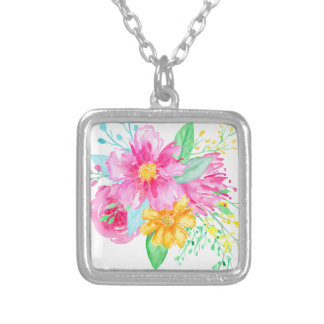 Watercolor Pink flowers Silver Plated Necklace