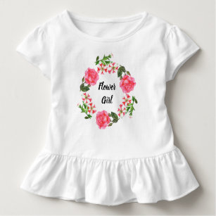 Watercolor Pink Flowers Wreath Circle Toddler T-Shirt