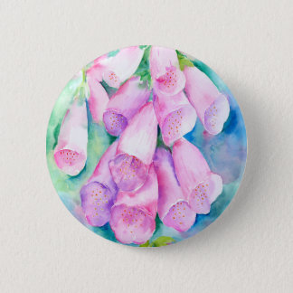 Watercolor pink foxgloves 6 cm round badge