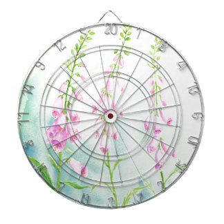 Watercolor Pink Foxgloves Dartboard