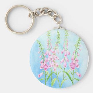 Watercolor Pink Foxgloves Key Ring