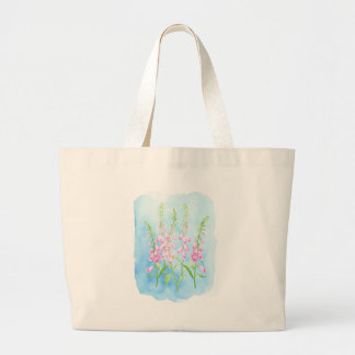 Watercolor Pink Foxgloves Large Tote Bag