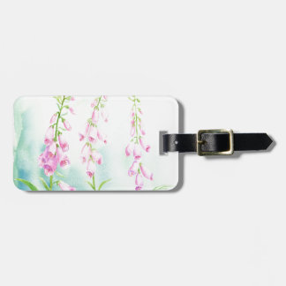 Watercolor Pink Foxgloves Luggage Tag