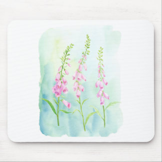 Watercolor Pink Foxgloves Mouse Pad