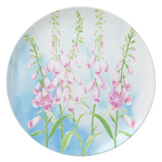Watercolor Pink Foxgloves Plate