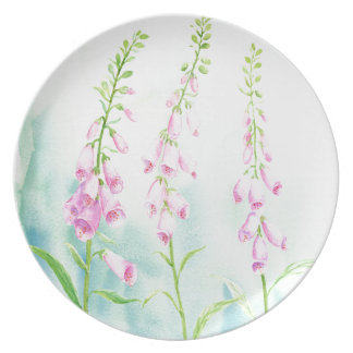 Watercolor Pink Foxgloves Plates