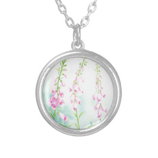 Watercolor Pink Foxgloves Silver Plated Necklace