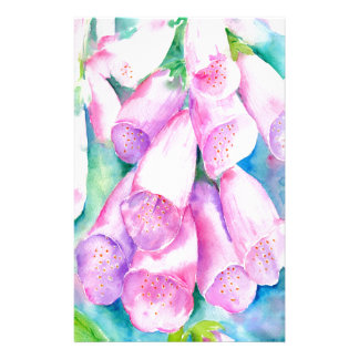 Watercolor pink foxgloves stationery