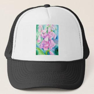 Watercolor pink foxgloves trucker hat