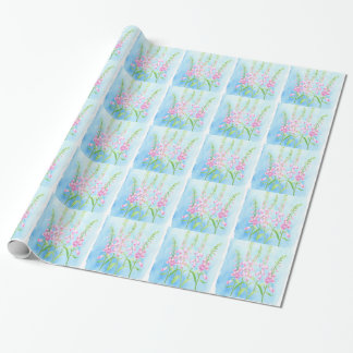 Watercolor Pink Foxgloves Wrapping Paper
