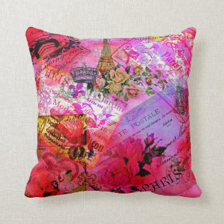 Watercolor Pink French Carte Postal Throw Pillow