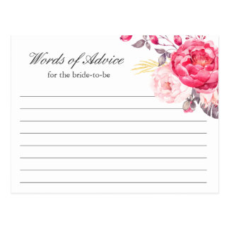 Watercolor Pink Gold Floral Words of Advice Card