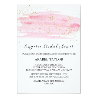 Watercolor Pink & Gold Lingerie Bridal Shower Card