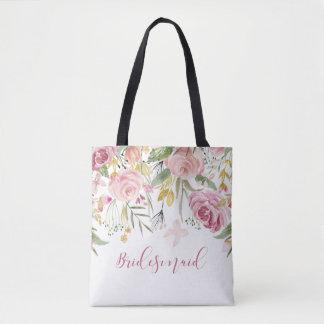 Watercolor Pink Gold Roses Greenery Bridesmaid Tote Bag