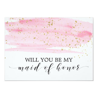 Watercolor Pink Gold Will You Be My Maid Of Honor Card