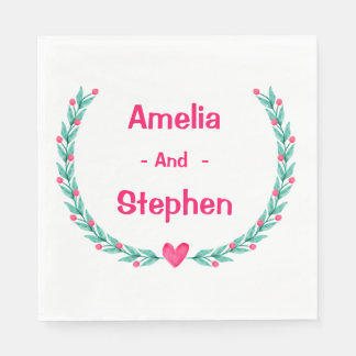 Watercolor Pink & Green Floral Wreath - Wedding Paper Napkin