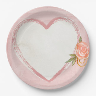 Watercolor Pink Heart & Rose Paper Plate