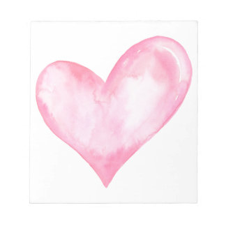 Watercolor pink heart, valentine gift notepad