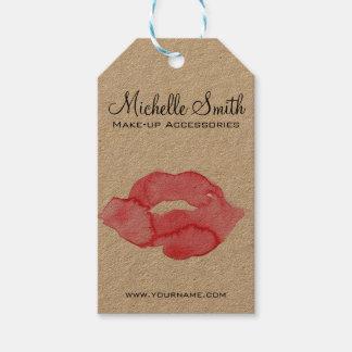 Watercolor pink lips makeup branding gift tags