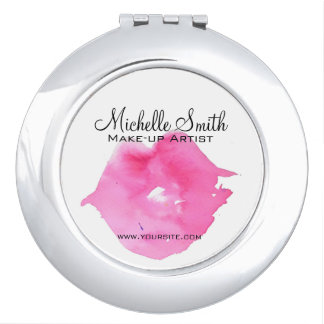 Watercolor pink lips makeup branding vanity mirror