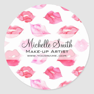 Watercolor pink lips pattern makeup branding classic round sticker