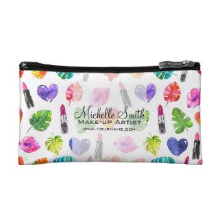 Watercolor pink lipstick pattern makeup branding cosmetic bag