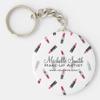Watercolor pink lipstick pattern makeup branding key ring