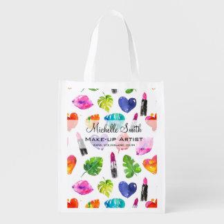 Watercolor pink lipstick pattern makeup branding reusable grocery bag