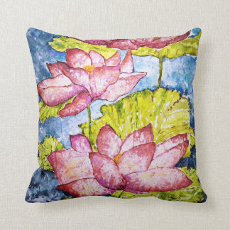 Watercolor Pink Lotus Pond Throw Pillow