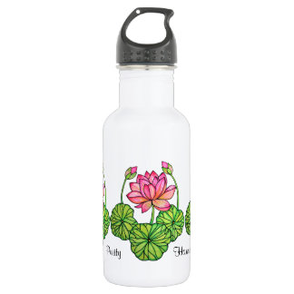 Watercolor Pink Lotus with Buds & Leaves 532 Ml Water Bottle