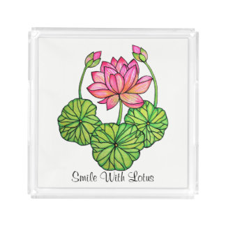 Watercolor Pink Lotus with Buds & Leaves Acrylic Tray