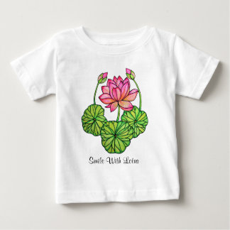 Watercolor Pink Lotus with Buds & Leaves Baby T-Shirt