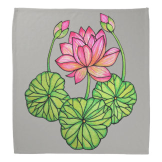 Watercolor Pink Lotus with Buds & Leaves Bandana