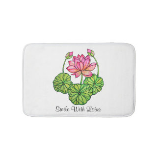 Watercolor Pink Lotus with Buds & Leaves Bath Mat