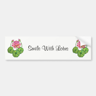 Watercolor Pink Lotus with Buds & Leaves Bumper Sticker