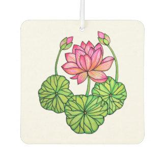 Watercolor Pink Lotus with Buds & Leaves Car Air Freshener