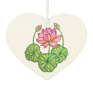 Watercolor Pink Lotus with Buds & Leaves Car Air Freshener