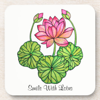 Watercolor Pink Lotus with Buds & Leaves Coaster