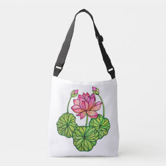 Watercolor Pink Lotus with Buds & Leaves Crossbody Bag