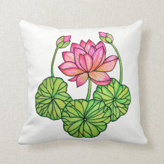 Watercolor Pink Lotus with Buds & Leaves Cushion