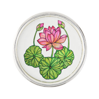 Watercolor Pink Lotus with Buds & Leaves Lapel Pin