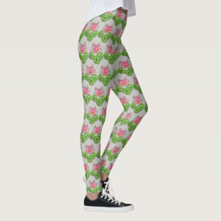 Watercolor Pink Lotus with Buds & Leaves Leggings