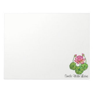 Watercolor Pink Lotus with Buds & Leaves Notepad
