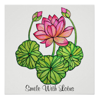 Watercolor Pink Lotus with Buds & Leaves Poster
