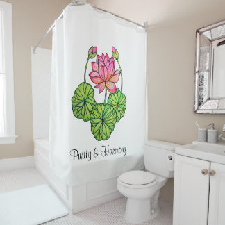 Watercolor Pink Lotus with Buds & Leaves Shower Curtain