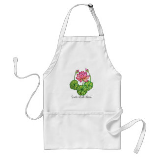Watercolor Pink Lotus with Buds & Leaves Standard Apron
