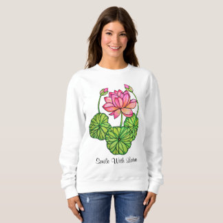 Watercolor Pink Lotus with Buds & Leaves Sweatshirt