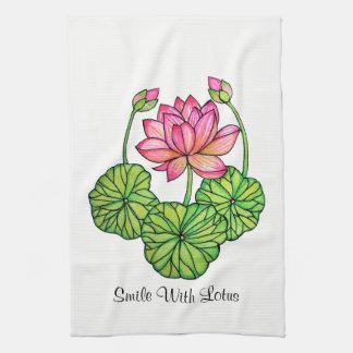 Watercolor Pink Lotus with Buds & Leaves Tea Towel