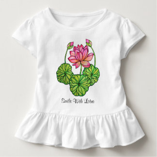 Watercolor Pink Lotus with Buds & Leaves Toddler T-Shirt